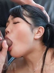 Misaki Oosawa aroused with vibrators gets cum from sucked dick