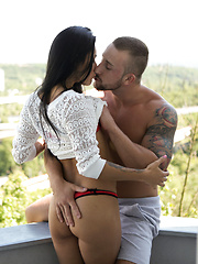 European babe Mindy gives her lover a stiffie ride in her landing strip pussy and fucks him til she gets her hot creampie