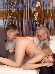 Guy and his old daddy team up to punish slutty girlfriend