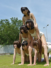 Naked asian queens playing outdoor
