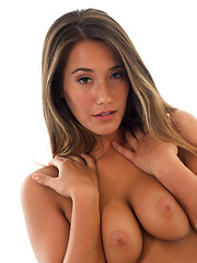 Pretty babe Eva Lovia shows her tender big boobs