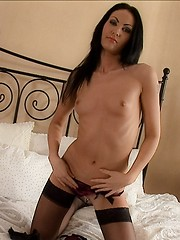 Dirty bitch in black stockings fucked by two guys