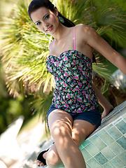 Solo session of Natasha Belle near the pool