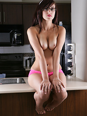 Pink underwear in kitchen