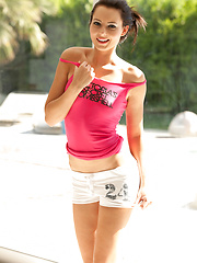 Teen erotic star Natasha  in pink shirt