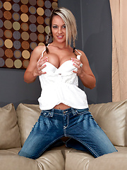 Cutie with pigtails takes off her blue jeans