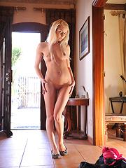 Shy girl Anneli undress her pinky bra