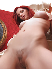 Ariel has fire red hair and a dynamic smile , she looks dazzling nude with a triangle bush pointed down.