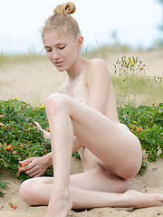 Adorable slender teen cutie taking off clothes and posing absolutely naked on the nature.