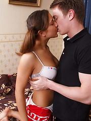 Teen with hot tits enjoys deep penetration