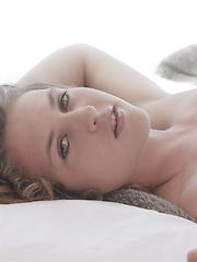 Brown hair erotic girl posing at home
