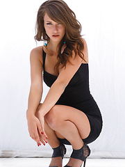 Malena Morgan on an impressive showcase   of her famed beauty, seductive   confidence, and erotic allure as she   flirts and strips her sexy black dress   in front of the camera.