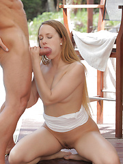 Join Blue Angel in an outdoor fuck fest where she gives her man a wet blowjob and then takes him deep in her horny pussy