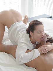 A sultry striptease showing off her small tits kicks off a hot fuck fest between brunette babe Kristall Rush and her man
