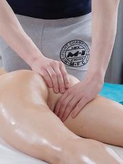 Fantastic brunette babe fucked by her masseur