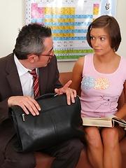 Sheyla fucks with a teacher, what a shameless girl!