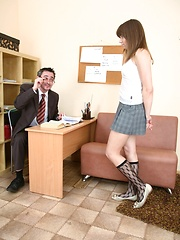 Sally covers her teacher's cock with warm saliva.
