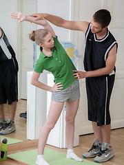 Fantastic teenage hottie banged by her nasty coach