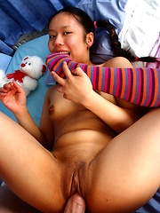 Asian horny teen babe sucking and fucking his hard knob
