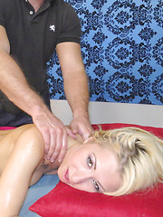 Sexy blonde Stacie Andrews gets a hot full body massage then massages a cock with her mouth and pussy