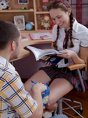 That cute schoolgirl face is simply inviting a cock in the arse!