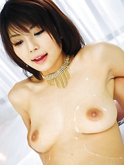Azumi Harusaki Asian in black lingerie gets sperm from two dicks
