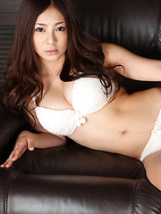 Minori Hatsune Asian takes lace lingerie off and shows big tits