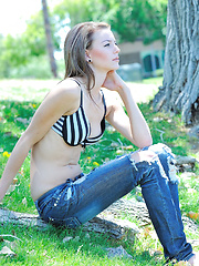 Kourtney skinny petite and topless with jeans