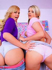 2 hot little school girl teenies get fucked with their legs behind their back in these hot big dong fucking 3some pics