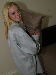 Skye show her legs as she teases in just a big dress shirt with nothing else on