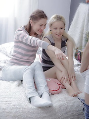 A pair of great teen babes fucked by one lucky guy