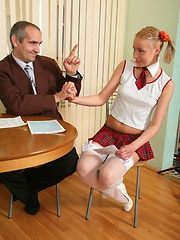 Petite blonde gets spoiled by her horny teacher