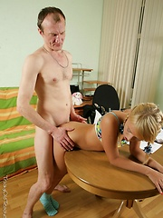 Young blonde rides old teacher's hard cock