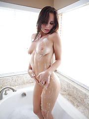 Sexy coed Aidra Fox slips her top off in the pool then heads inside to satisfy her warm wet pussy with a vibrating toy