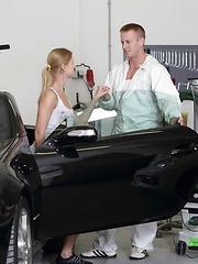 Tall blonde slut gets humped in a fancy car shop