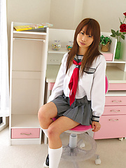 Satsuki Konichi Asian in uniform shows that she is not a good gal