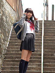 Yuuri Shiina Asian in school uniform is so cute while walking