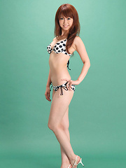 Chinatsu Sasaki Asian in bath suit looks perfectly fit for beach