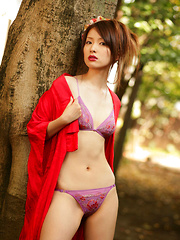 Saki Seto Asian takes geisha outfit off and shows leering curves