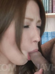 Tsubasa Aihara has tits exposed while sucking dicks till gets cum