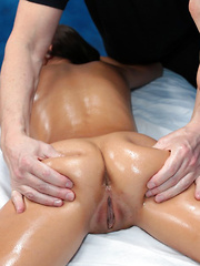 Hot and sexy 18 year old Janice gets fucked hard from behind by her massage therapist