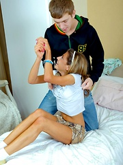 A cute schoolgirl chick surprised by a large hard boner