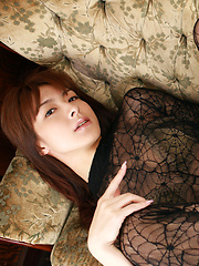 Rika Kawamura Asian shows cunt in spider lace crotchless outfit